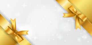 Horizontal background with white sparkling center and Golden corner ribbons with Bows.. Golden stars background with satin bow stock illustration