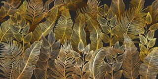 Free Horizontal Background With Various Exotics Golden Leaves. Hand Drawn Luxury Golden Tropical Leaf On Dark Background. Stock Images - 218113724
