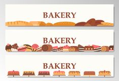 Horizontal bakery banners. Baking, bread and cakes. Vector flat.  Stock Photography