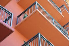 Horizontal Balconies. Looking up at balconies on a modern condominium complex royalty free stock photography