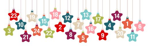 Banner Advent Calendar Hanging Stars Retro Color royalty free illustration
