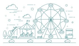 Horizontal banner of amusement park. Great attractions such as carousel with horses, ferris wheel, roller coaster and ice-cream truck. Line vector illustration stock illustration