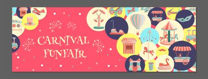 Horizontal banner with amusement park icons in colored circles. stock illustration