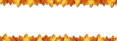 Horizontal  banner of autumn leaves Stock Photography