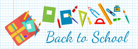 Horizontal banner Back to school. School bags and stationery. Royalty Free Stock Photography