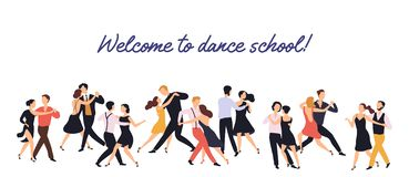 Horizontal banner or backdrop with pairs of elegant men and women dancing tango on white background. Dance school or. Choreography studio advertisement. Flat royalty free illustration