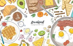 Horizontal banner or background with frame consisted of various breakfast meals and wholesome morning food - croissant. Fried eggs, toasts, fruits. Vector royalty free illustration