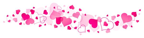 Horizontal Banner Big And Little Pink Hearts royalty free illustration