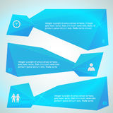 Horizontal banner blue triangles surround effect. Modern Design infographic style template on beautyful with numbered 3d effect shape. Vector illustration EPS 10 Stock Image