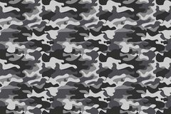 Horizontal banner camouflage seamless pattern background. Classic clothing style masking camo repeat print. Black grey. White colors winter ice texture. Design stock illustration