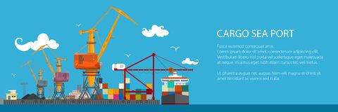 Horizontal Banner of Cargo Seaport. Cranes in Port Load Containers on the Ship or Unload, Poster Brochure Flyer Design, Vector Illustration Royalty Free Stock Image