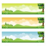 Horizontal banner with cartoon Nature Landscape. Background, suitable for kid background, game background, Book Cover, Flyer, and other with beautiful scenery Stock Image