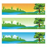 Horizontal banner with cartoon Nature Landscape. Background, suitable for kid background, game background, Book Cover, Flyer, and other with beautiful scenery Royalty Free Stock Photos