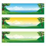 Horizontal banner with cartoon Nature Landscape. Background, suitable for kid background, game background, Book Cover, Flyer, and other with beautiful scenery Royalty Free Stock Image