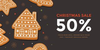 Horizontal banner Christmas sale with gingerbread house. Template New year gift certificate and discount coupon. Vector illustration Stock Photo