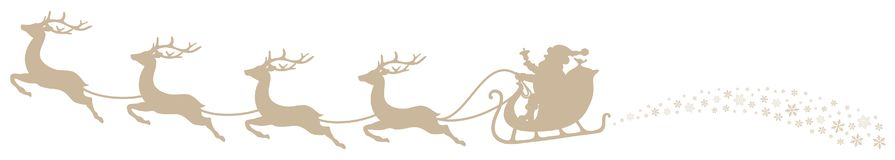 Christmas Sleigh Santa And Flying Reindeers Swirl Beige stock illustration