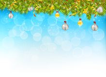 Horizontal banner with christmas tree garland and ornaments. Han. Ging golden glitter balls and ribbons. Great for flyers, posters, headers. Vector illustration Royalty Free Stock Photography