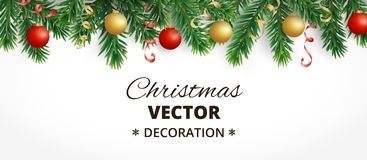 Horizontal christmas banner with fir tree garland, hanging balls and ribbons. Horizontal banner with christmas tree garland and ornaments. Hanging gold and red Stock Image