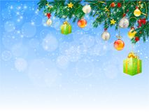 Horizontal banner with christmas tree garland and ornaments. Hanging golden glitter balls and ribbons. Great for flyers, posters, headers. Vector illustration Stock Photos