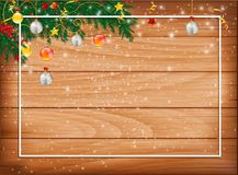 Horizontal banner with christmas tree garland and ornaments. Hanging golden glitter balls and ribbons. Great for flyers, posters, headers. Vector illustration Royalty Free Stock Photography