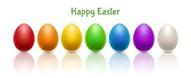 Horizontal banner with colorful Easter eggs in row. Horizontal banner with realistic colorful Easter eggs in row, arranged in rainbow. Vector illustration Royalty Free Stock Photo