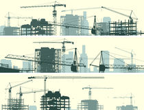 Horizontal banner of construction site with cranes and building. vector illustration