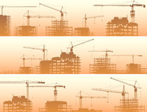 Horizontal banner of construction site with cranes and building Stock Images