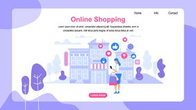 Horizontal Banner with Copy Space. Online Shopping. Young Woman Consumer with Bags Making Shopping Purchases in Web Application Stand in Front of Store royalty free illustration