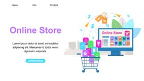 Horizontal Banner with Copy Space. Online Store. Shopping Cart with Purchases Icons Stand in Front of Huge Computer Monitor with Opened Web Application. Price stock illustration