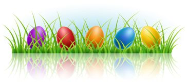 Horizontal banner with Easter eggs in grass. Horizontal banner with colorful Easter eggs in grass. Vector illustration for Easter holiday and spring celebration Stock Image