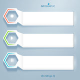 Horizontal-banner-effect-paper-on-a-gray-background. Design business presentation template. Vector illustration for technology infographics, number banners Stock Photography