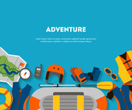 Horizontal banner equipment for outdoor activities flat design Stock Photography
