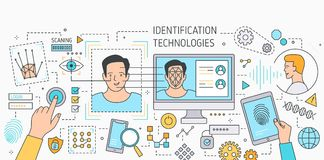 Horizontal banner with facial recognition technology tools, software for fingerprint scanning, verification and. Identification of person. Colorful vector Stock Photography
