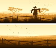 Horizontal banner of farm fields with fence. Royalty Free Stock Image