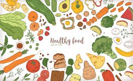 Horizontal banner with frame consisted of different healthy or wholesome food, fruit and vegetable slices, nuts, eggs. And bread hand drawn on white background stock illustration