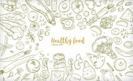 Horizontal banner with frame consisted of different healthy or wholesome food, fruit and vegetable slices, nuts, eggs. And bread hand drawn on white background Vector Illustration
