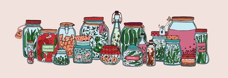 Horizontal banner with fruits, pickled vegetables and spices in jars and bottles hand drawn on white background Stock Photos