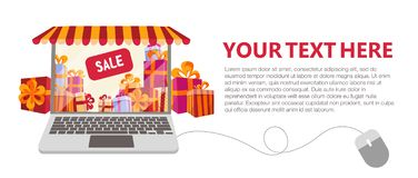 Horizontal banner with Gift boxes Sale inside. Laptop decorated as shop window with striped canopy, awning, tent. Laptop computer stock illustration