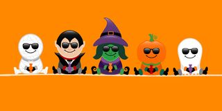 Banner Halloween Mummy Vampire Witch Pumpkin And Ghost Sunglasses Orange vector illustration