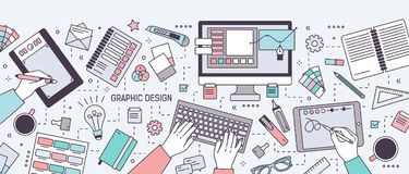 Horizontal banner with hands of designer working in digital vector editor or drawing on tablet surrounded by stationery. And art tools. Graphic design. Colored Stock Image