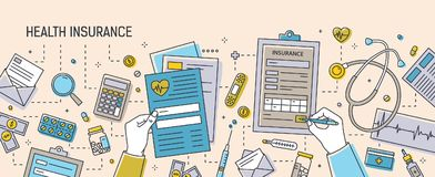 Horizontal banner with hands filling out health insurance documents surrounded by paper forms, medications, medical. Equipment and tools. Colorful vector vector illustration
