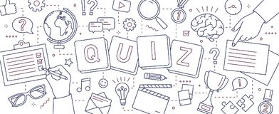 Horizontal banner with hands of people solving puzzles, answering quiz questions, playing board games to test. Intelligence or intellect drawn with lines on Stock Image