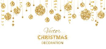 Horizontal banner with hanging christmas balls and ribbons  on white. Stock Photography