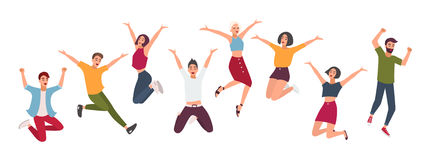 Horizontal banner with happy people. Young guys and girls jumping. Colorful vector illustration in flat style. stock illustration