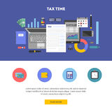Horizontal banner with icons paying taxes. Horizontal banner and icon set, flat design. Payment of tax. State taxes, analysis of financial data, statistics Stock Photo