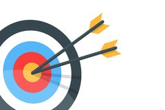 Horizontal banner with the image of an arrow and a target. Vector  illustration. Horizontal banner with the image of an arrow and a target. Vector  illustration Royalty Free Stock Images