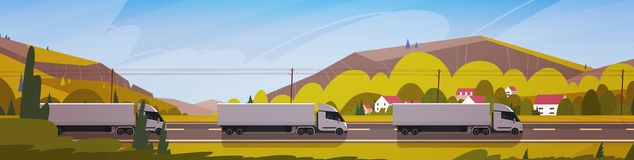 Horizontal Banner With LIne Of Cargo Truck Trailers Driving Road Over Mountains Landscape. Vector Illustration Stock Images