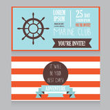 Horizontal banner for marine club/male vacation/retro beach party Royalty Free Stock Photography