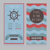 Horizontal banner for marine club/male vacation/retro beach party Stock Photo