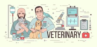 Horizontal banner with medical equipment and two smiling veterinarians holding domestic animals. Pair of friendly vets. With pets. Colorful vector illustration Royalty Free Stock Photo